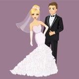 Beautiful Bride And Groom. Vector wedding illustration of beautiful bride in elegante dress and groom Stock Image