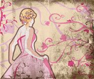 Beautiful bride on grunge page. Grunge beautiful bride in pink dress on page with swirls and scrolls Stock Photography