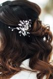 Beautiful bride hairstyle. Wedding preparation in the room Royalty Free Stock Photography