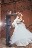 A beautiful bride and handsome groom at church during wedding Royalty Free Stock Photos