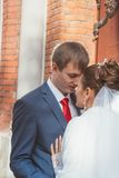 A beautiful bride and handsome groom at church during wedding Royalty Free Stock Photography