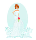 Beautiful bride. Happy bride holding a bouquet of flowers Stock Image
