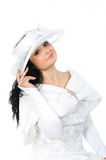 Beautiful bride with hat and cape Stock Photos