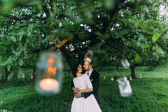 Beautiful bride and her loving groom in evening park holding each other under tree decorated with many lanterns Royalty Free Stock Image