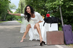 Beautiful bride hitch-hiker Stock Photos