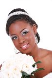 Beautiful Bride Holding Rose Bouquet Headshot Royalty Free Stock Photos