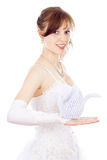 Beautiful bride holds paper Swan Royalty Free Stock Photography