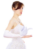 Beautiful bride holds paper Swan Royalty Free Stock Photos