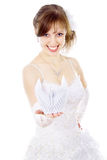 Beautiful bride holds paper Swan Stock Image