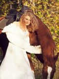 Beautiful bride  with horse in forest at evening Stock Photography