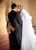 Beautiful bride hugging groom and touching his bottom Royalty Free Stock Image