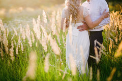 Beautiful Bride hugs groom on nature in the sunset light, wedding, marriage, relationship, lifestyle Stock Photo