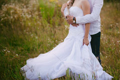 Beautiful Bride hugs groom on nature in the sunset light, wedding, marriage, relationship, lifestyle Stock Photos