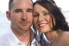 Beautiful bride and husband headshot stock image