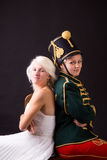 Beautiful bride and hussar Royalty Free Stock Image