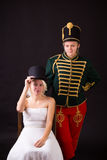 Beautiful bride and hussar Royalty Free Stock Photo