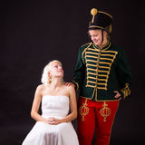 Beautiful bride and hussar Stock Image