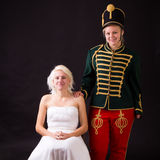 Beautiful bride and hussar Royalty Free Stock Photography