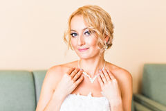 Beautiful bride indoors Royalty Free Stock Photo