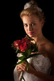Beautiful bride isolated. Over black background Royalty Free Stock Photo
