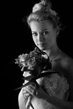 Beautiful bride isolated. Over black background Stock Photography