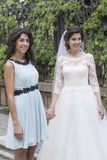 Beautiful  bride with lace dress and her sister Royalty Free Stock Photography