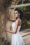 Beautiful bride lady in elegant white wedding dress Stock Photography