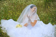 Beautiful bride laughing Stock Photos