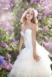 Beautiful bride. In a lavender garden Stock Image