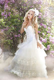 Beautiful bride. In a lavender garden Royalty Free Stock Images