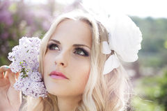 Beautiful bride. In a lavender garden Stock Photography