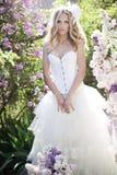Beautiful bride. In a lavender garden Royalty Free Stock Photos