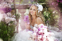 Beautiful bride. In a lavender garden Stock Images