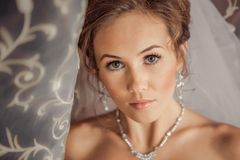 Beautiful Bride lit by sunlight Royalty Free Stock Photography