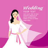 The Beautiful bride long hair and white  dress design Royalty Free Stock Photography