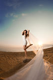 Beautiful bride with a long veil on the beach at sunset. Beautiful bride in a short dress with a long veil on the beach at sunset Stock Photo