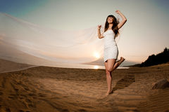 Beautiful bride with a long veil on the beach at sunset. Beautiful bride in a short dress with a long veil on the beach at sunset Stock Image