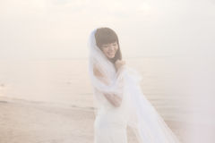 Beautiful bride with a long veil on the beach at sunset Stock Photography