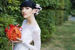 Beautiful bride, looking at the camera Royalty Free Stock Photos