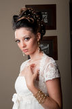 Beautiful bride looking candid Stock Photos