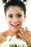 Beautiful bride looking surprised Royalty Free Stock Images