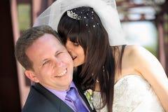Beautiful bride and loving groom Royalty Free Stock Photo