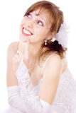 Beautiful bride in a luxurious wedding dress Stock Images
