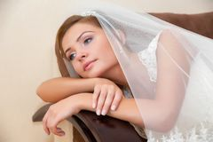 Beautiful bride in a luxurious wedding dress Royalty Free Stock Photo