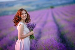 Beautiful bride in luxurious wedding dress in purple lavender flowers. Fashion romantic stylish woman with violet. Bouquet. Alluring slim girl in sunset over stock photo