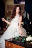 Beautiful bride in luxury hotel room Royalty Free Stock Photo