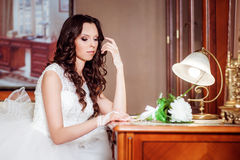 Beautiful bride in luxury hotel room Royalty Free Stock Images