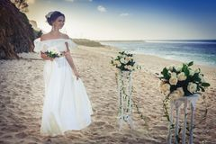 Beautiful bride married at the beach, Bali. Wedding ceremony Stock Photography