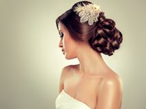 Beautiful bride model brunette stock photos