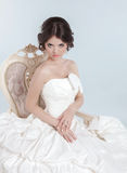 Beautiful bride model girl wearing in wedding dress with volumin Royalty Free Stock Photos